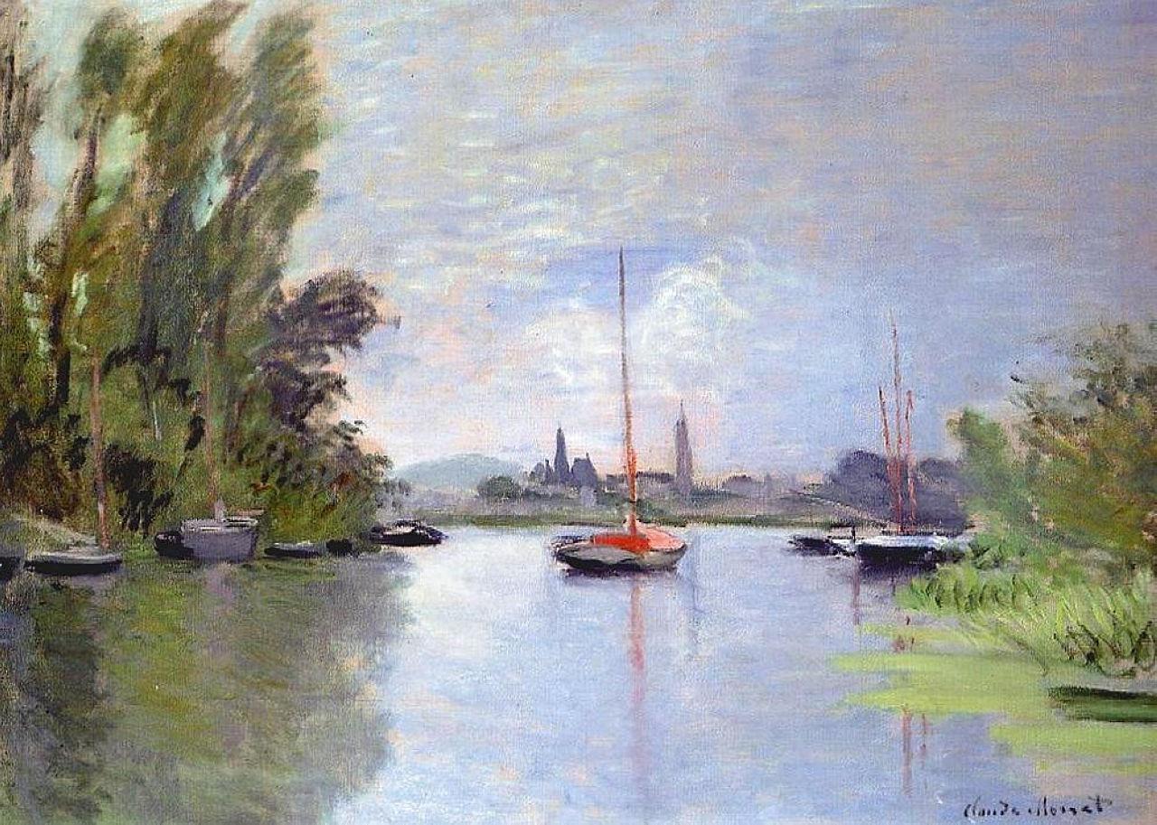 речной пейзаж < Вид на Аржантёй с Сены >:: Клод Моне, описание картины - Claude Monet фото