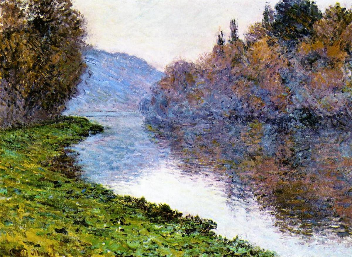 речной пейзаж < Побережье Сены, безоблачная погода >:: Клод Моне, описание картины - Claude Monet фото