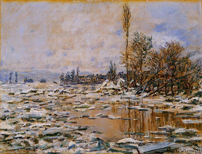 речной пейзаж < Таяние льда, пасмурная погода >:: Клод Моне, описание картины - Claude Monet фото