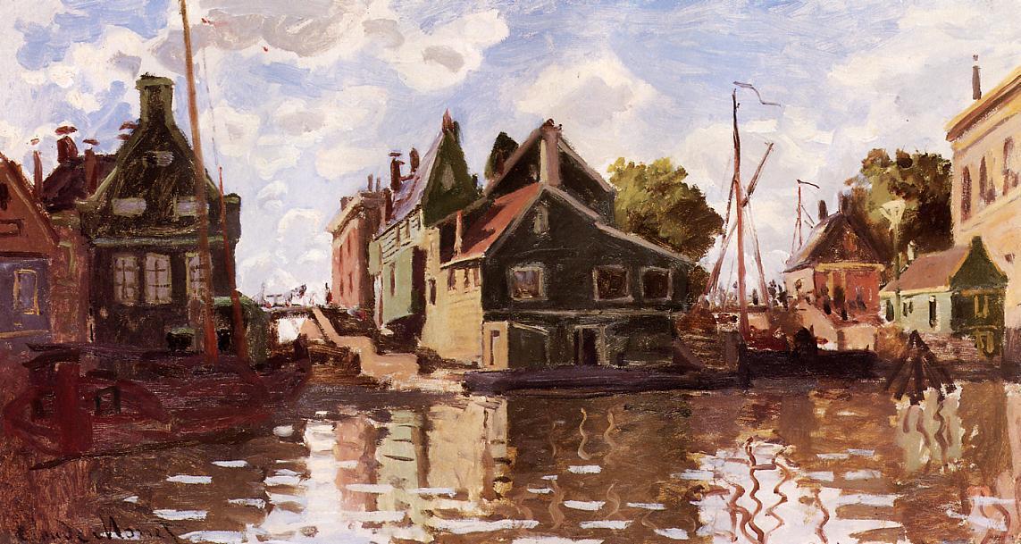 речной пейзаж < Канал в городе Зандам >:: Клод Моне, описание картины - Claude Monet фото