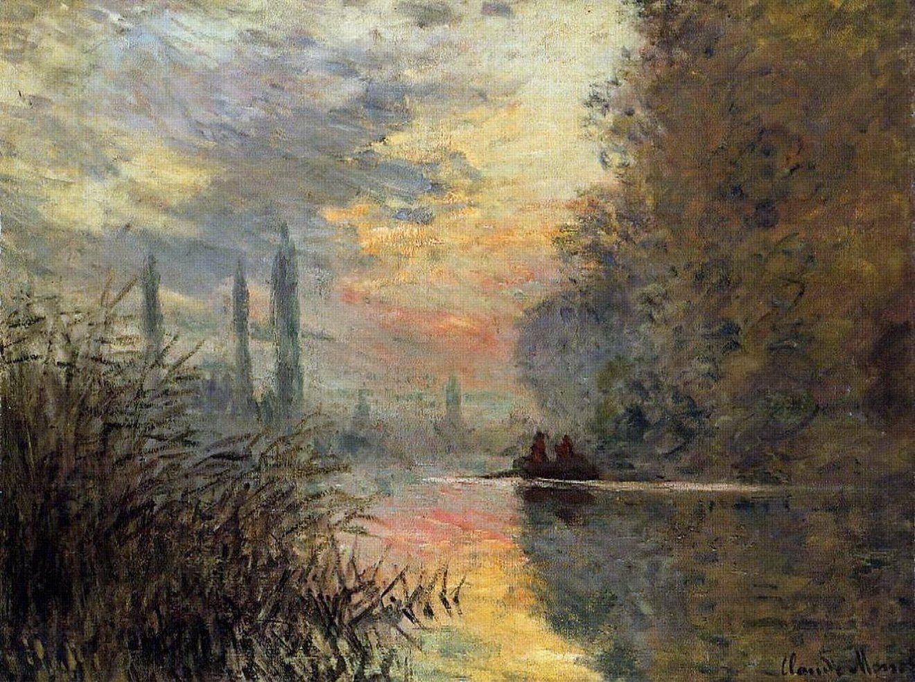 речной пейзаж Вечер В Аржантёе :: Клод Моне, описание картины - Claude Monet фото