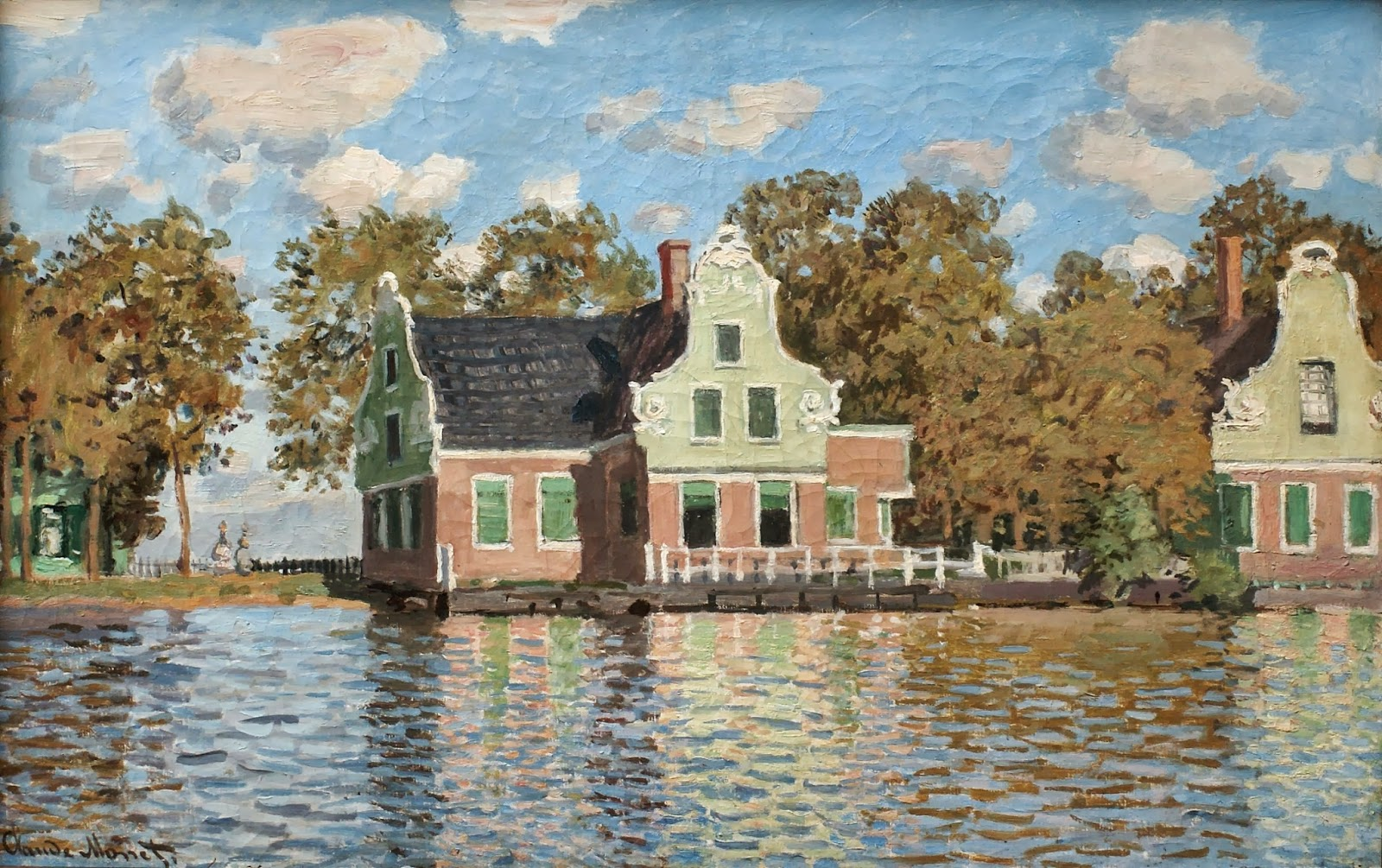 речной пейзаж < Дома на реке Заан, в городе Зандам  >:: Клод Моне, описание картины - Claude Monet фото