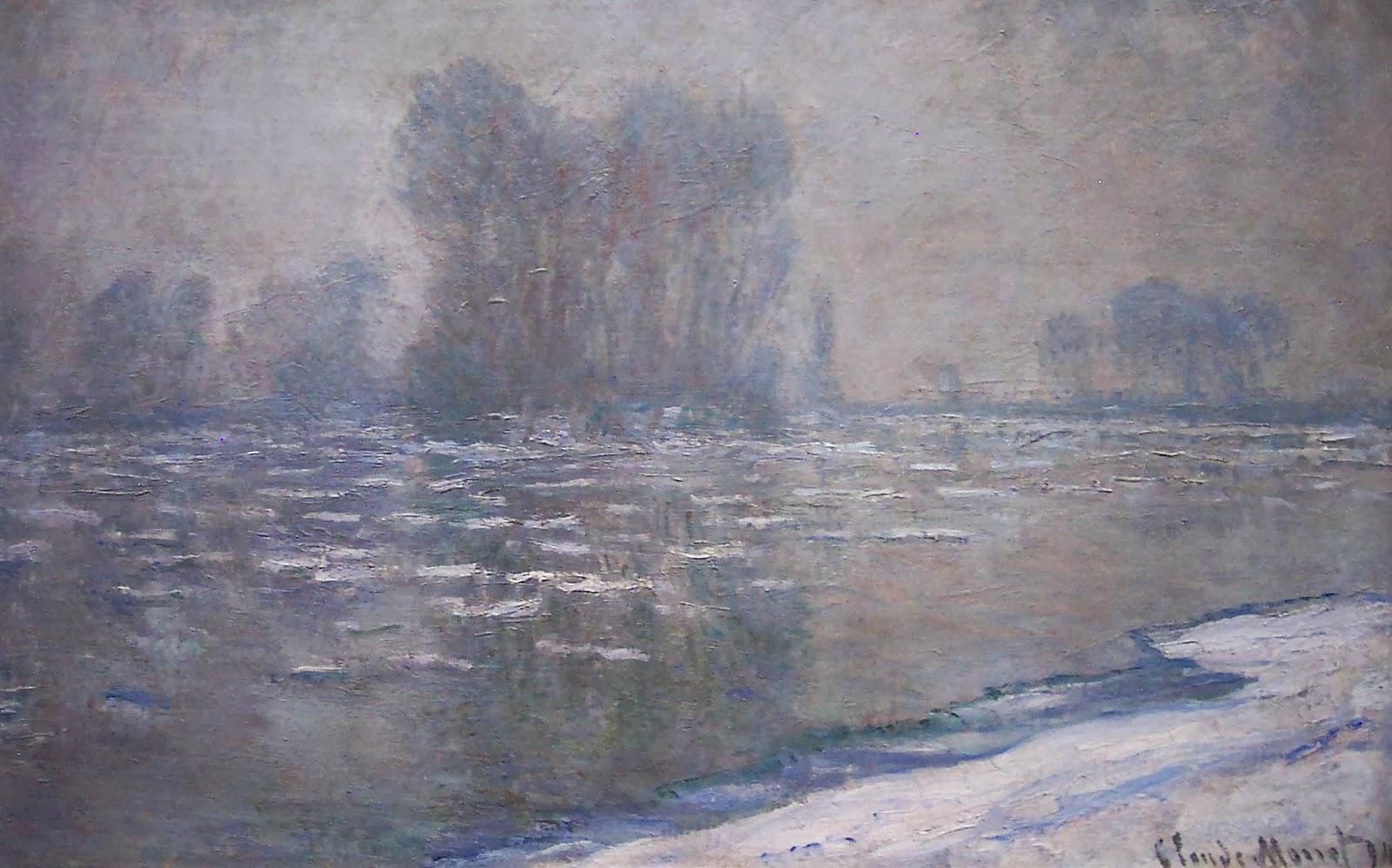 речной пейзаж Лёд на реке, туманное утро :: Клод Моне, описание картины - Claude Monet фото