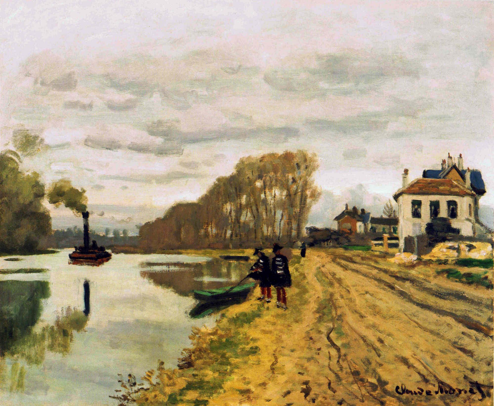 речной пейзаж < Пешие караульные, бродящие вдоль реки  >:: Клод Моне, описание картины - Моне Клод (Claude Monet) фото