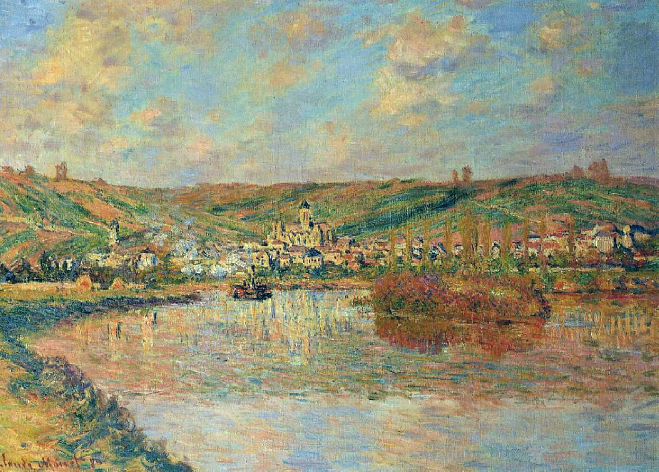 речной пейзаж < Поздний день в Ветёе  >:: Клод Моне, описание картины - Моне Клод (Claude Monet) фото