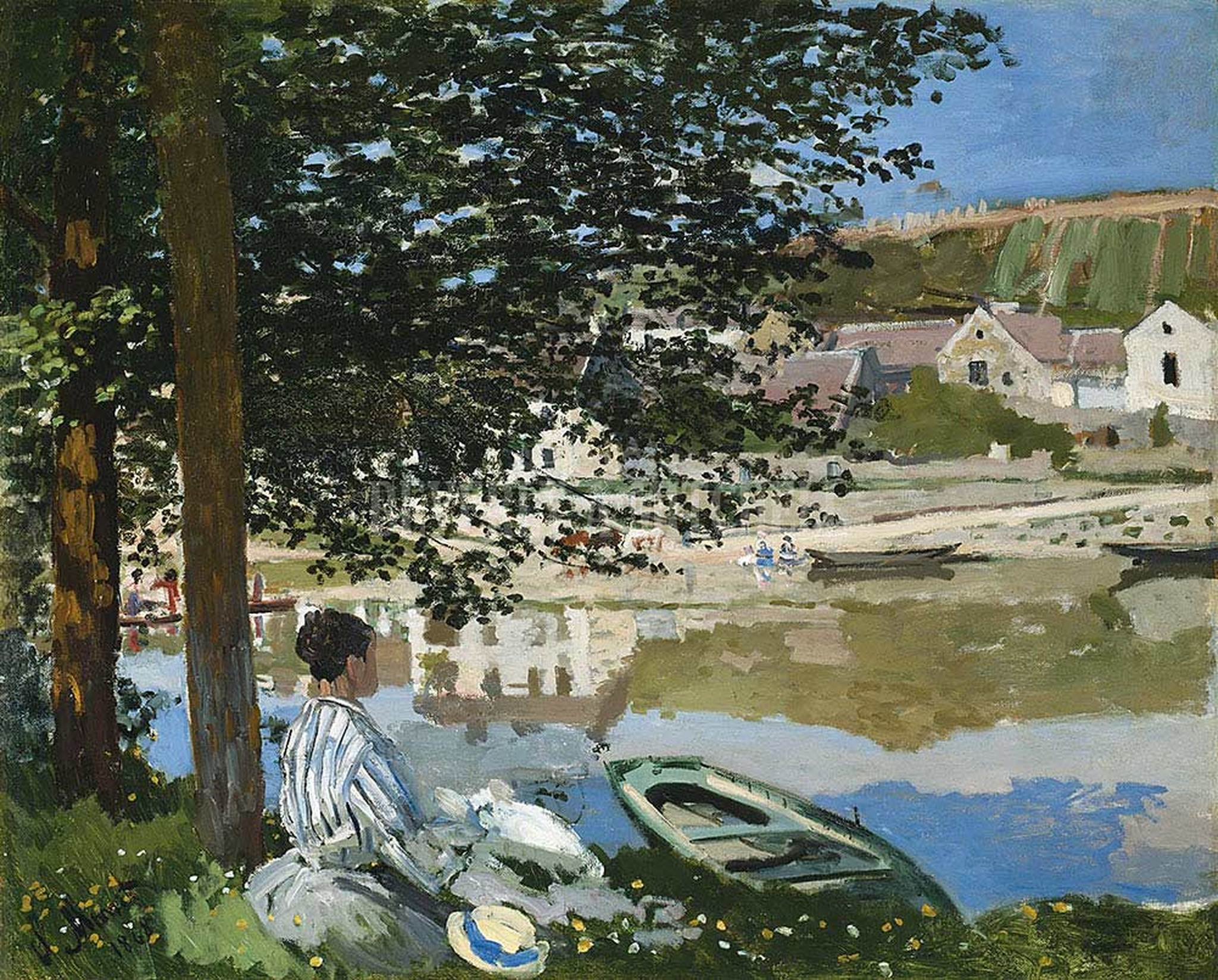 речной пейзаж < Река в Беннекурте  >:: Клод Моне, описание картины - Моне Клод (Claude Monet) фото