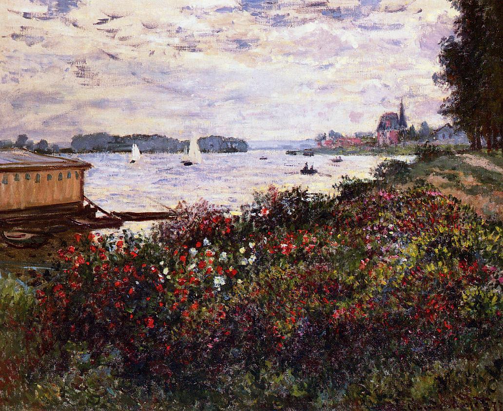 речной пейзаж Побережье реки в Аржантёе :: Клод Моне, описание картины - Claude Monet фото