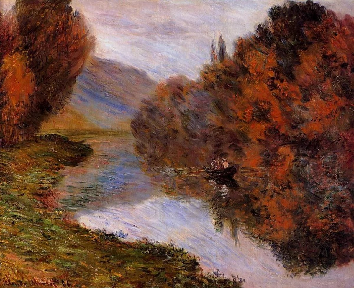 речной пейзаж < Шлюпка, плывущая по Сене >:: Клод Моне, описание картины - Моне Клод (Claude Monet) фото
