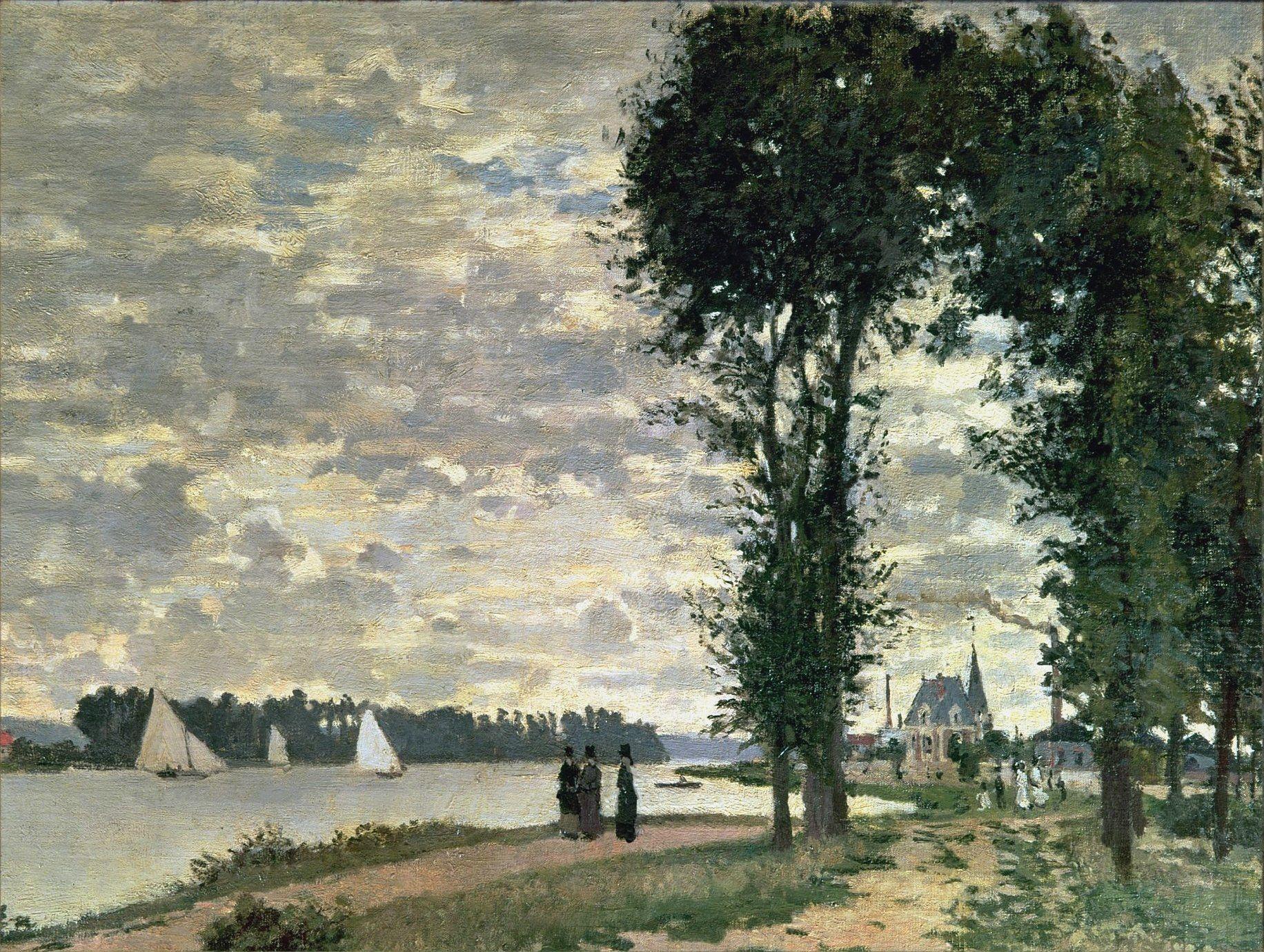 речной пейзаж < Берега Сены, Аржантёй >:: Клод Моне, описание картины - Моне Клод (Claude Monet) фото