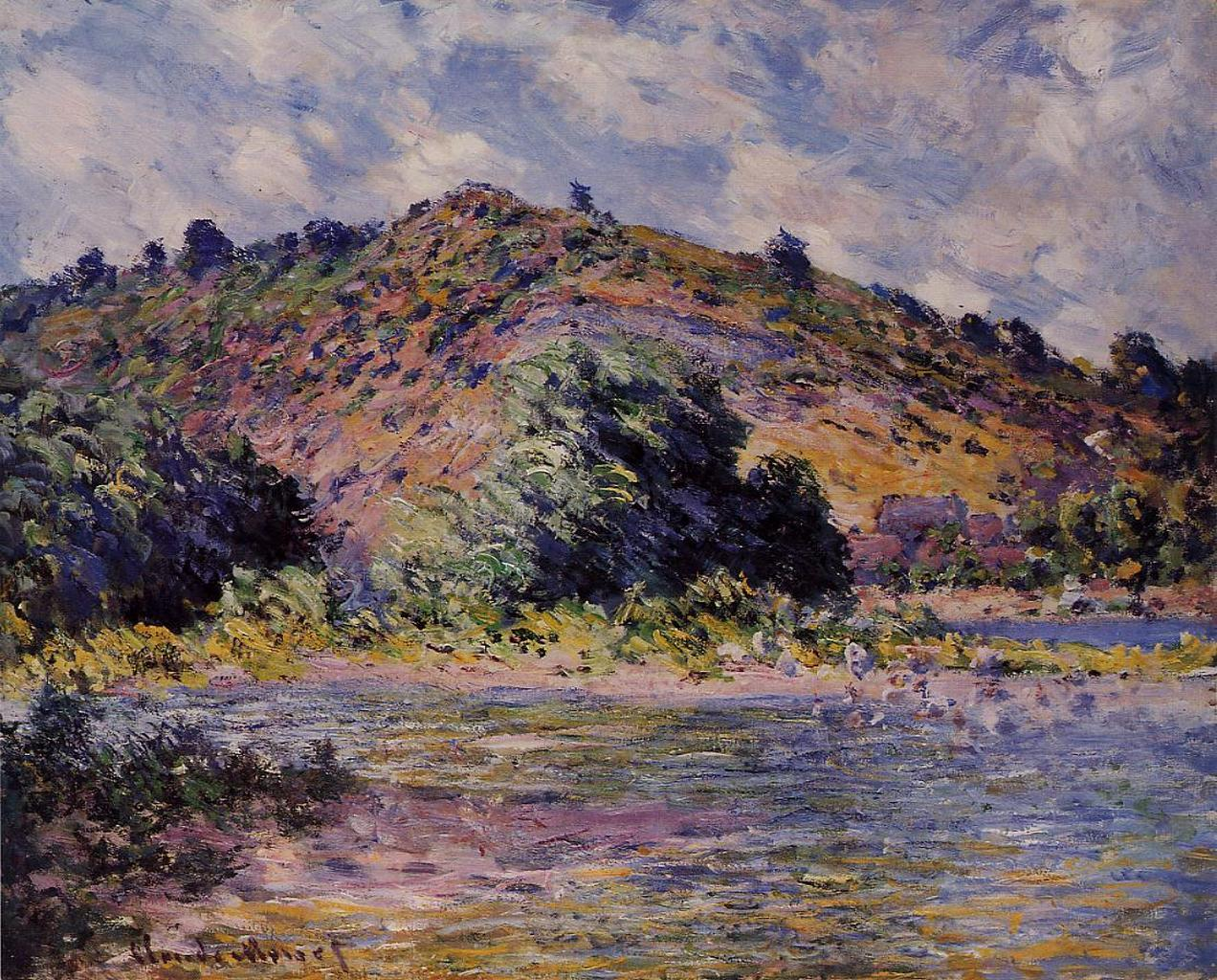 речной пейзаж Берега Сены, Порт-Вилле :: Клод Моне, описание картины - Claude Monet фото