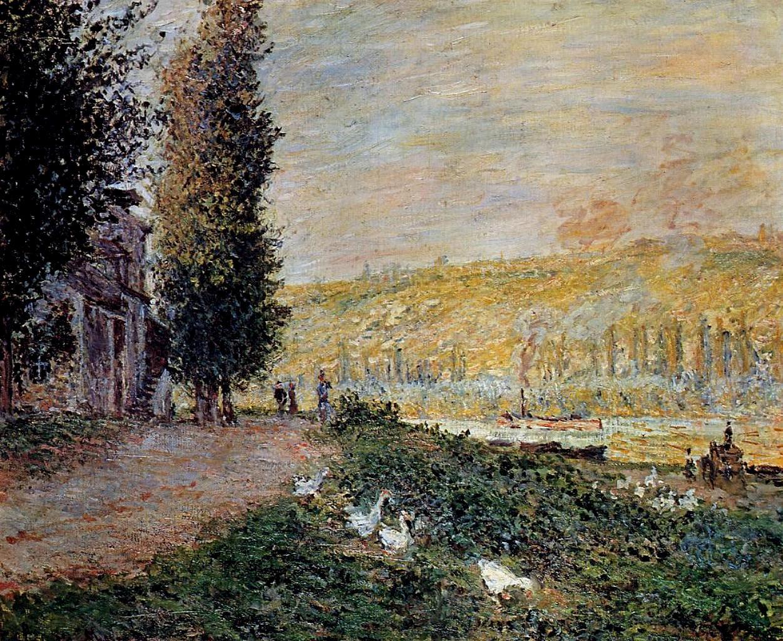 речной пейзаж < Берега Сены, Лавакурт >:: Клод Моне, описание картины - Моне Клод (Claude Monet) фото