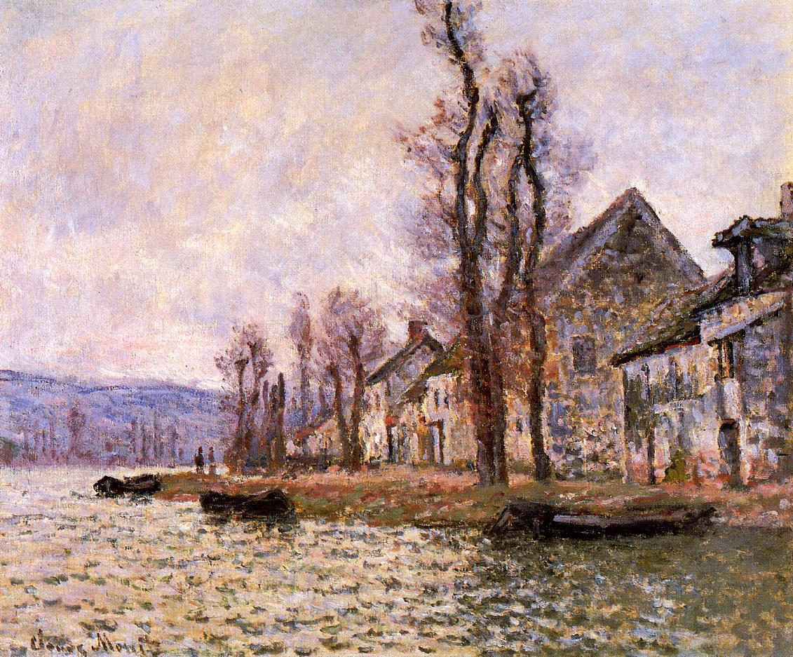 речной пейзаж  Излучина Сены, Лавакурт, зима :: Клод Моне, описание картины  - Claude Monet фото