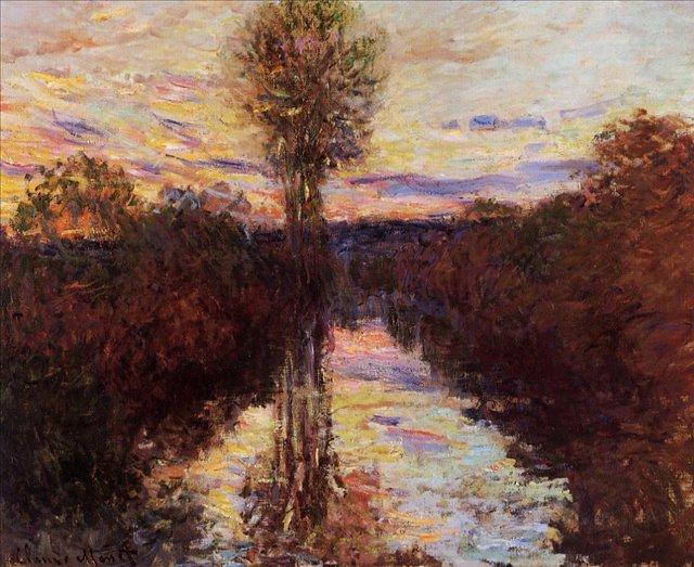 речной пейзаж Малый рукав Сены, Моссо :: Клод Моне, описание картины - Claude Monet фото