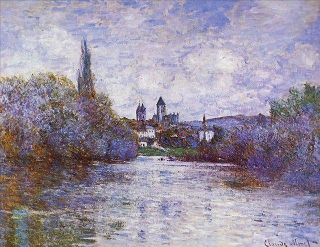 речной пейзаж Малый рукав Сены, Ветёй :: Клод Моне, описание картины - Claude Monet фото