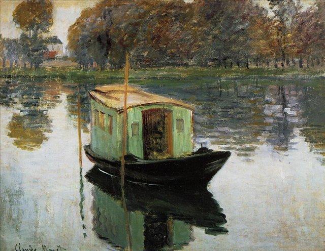 речной пейзаж < Лодка-студия >:: Клод Моне, описание картины - Claude Monet фото