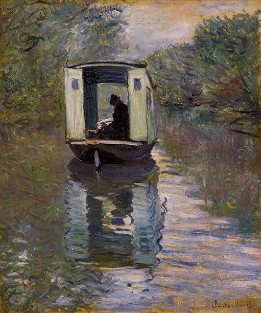 речной пейзаж < Лодка-студия >:: Клод Моне, описание картины - Моне Клод (Claude Monet) фото