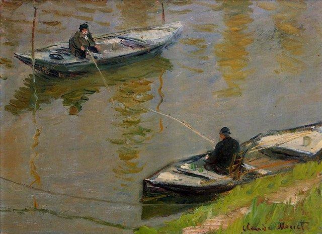 речной пейзаж < Два рыболова >:: Клод Моне, описание картины - Моне Клод (Claude Monet) фото