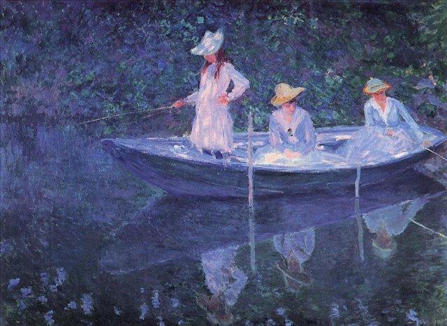 речной пейзаж < Девушки в лодке >:: Клод Моне, описание картины - Claude Monet фото