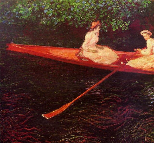 речной пейзаж Девушки плывущие в лодке по реке Эпт :: Клод Моне, описание картины - Claude Monet фото
