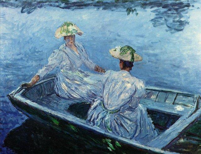 речной пейзаж Девушки в голубой шлюпке :: Клод Моне, описание картины - Claude Monet фото