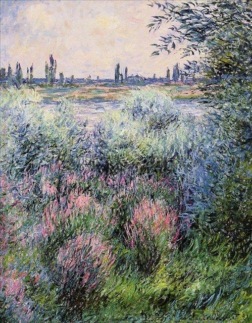 речной пейзаж Побережье Сены :: Клод Моне, описание картины - Claude Monet фото