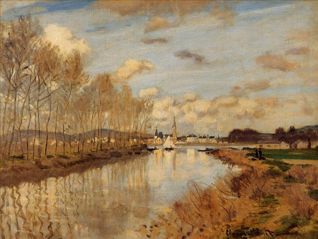 речной пейзаж < Аржантёй, Вид с малого рукава Сены >:: Клод Моне, описание картины - Claude Monet фото