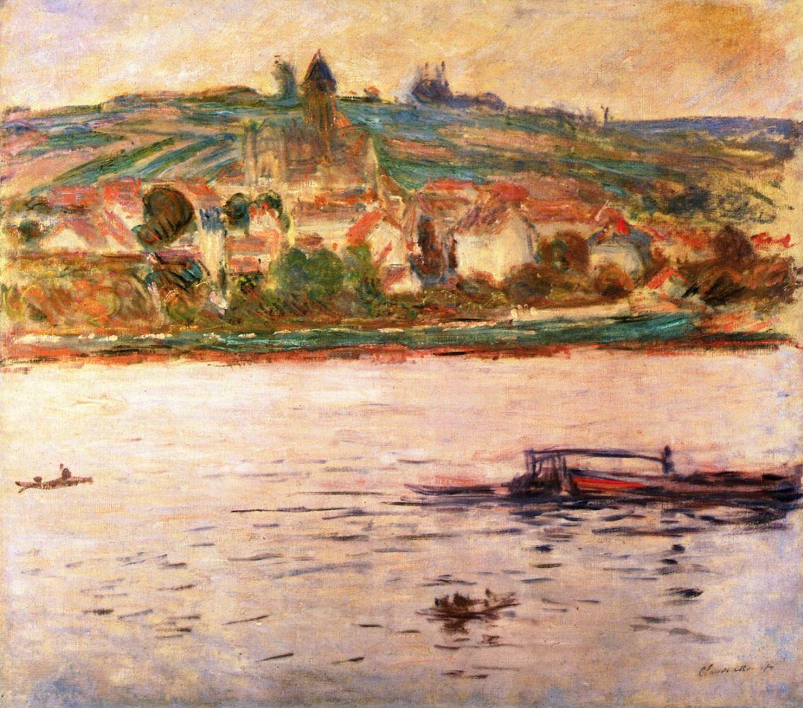 речной пейзаж < Баржа на Сене в Витёе (Витёй) >:: Клод Моне, описание картины - Claude Monet фото