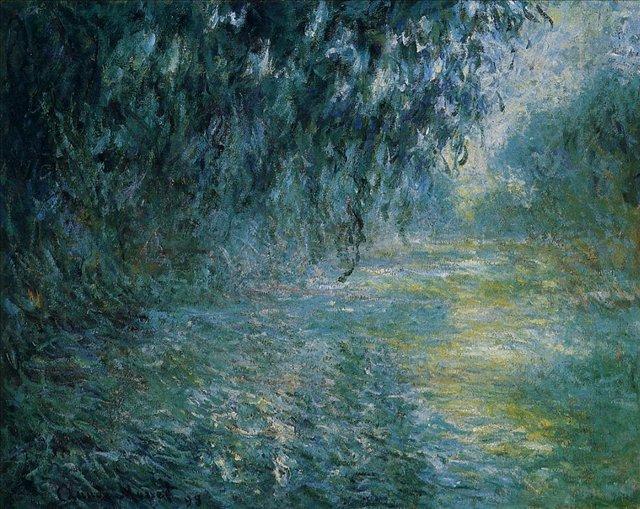 речной пейзаж < Сена утром в дождь >:: Клод Моне, описание картины - Claude Monet фото