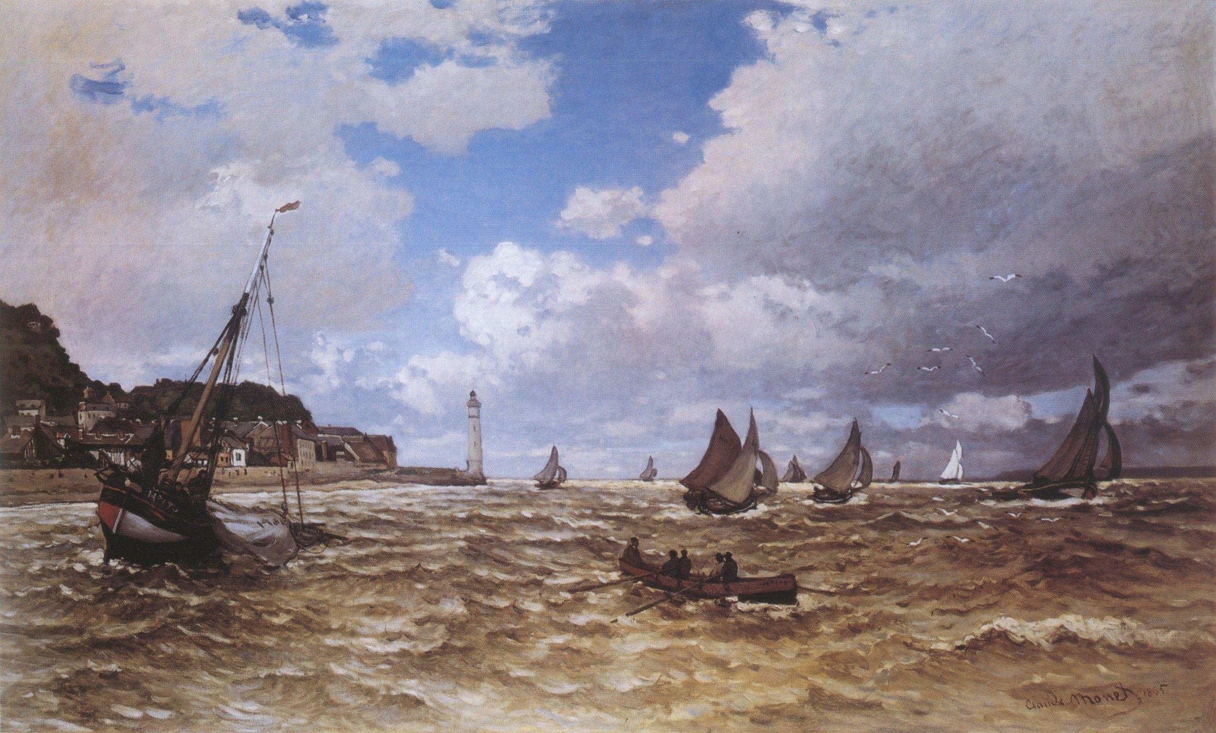 речной пейзаж < Устье Сены в Хонфлёре >:: Клод Моне, описание картины - Claude Monet фото