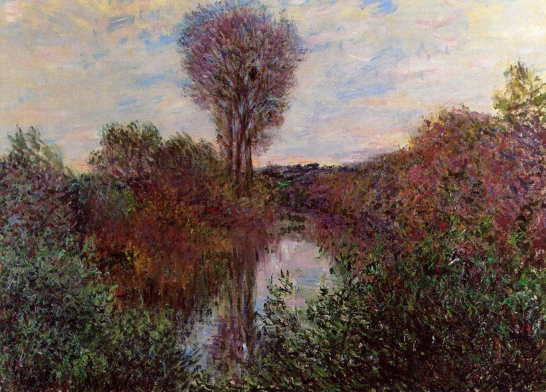 речной пейзаж < Малый рукав Сены в Моссо >:: Клод Моне, описание картины - Claude Monet фото