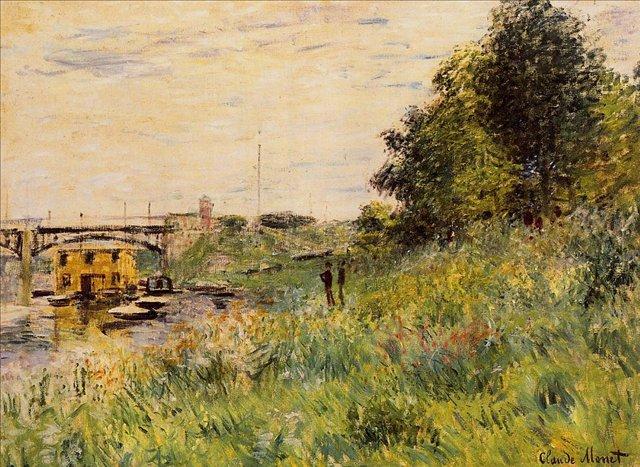 речной пейзаж < Берега Сены и мост в Аржентёе >:: Клод Моне, описание картины - Claude Monet фото