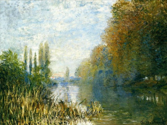 речной пейзаж Берега Сены осенью :: Клод Моне, описание картины - Claude Monet фото