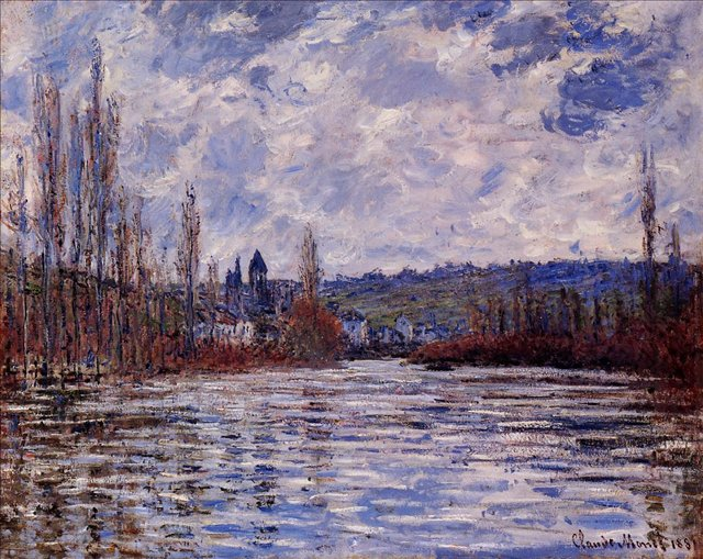 речной пейзаж Туман над Сеной, Витёй :: Клод Моне, описание картины - Claude Monet фото