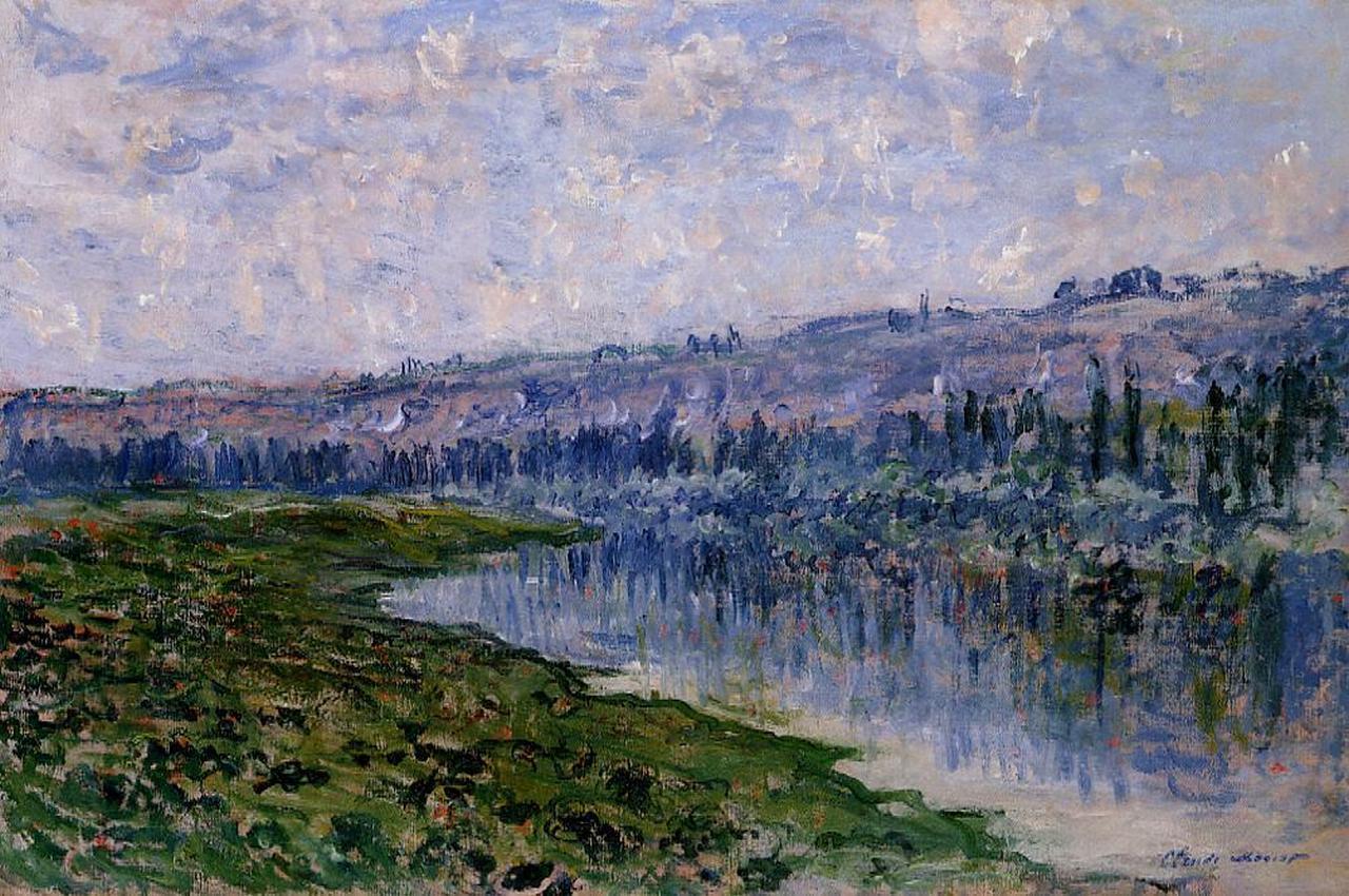 речной пейзаж < Сена и холмы Шато >:: Клод Моне, описание картины - Моне Клод (Claude Monet) фото