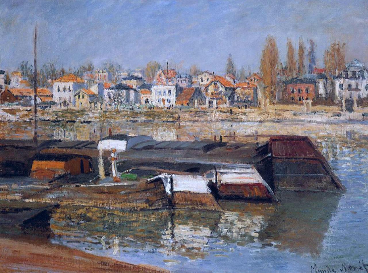 речной пейзаж < Сена, Аньер >:: Клод Моне, описание картины - Claude Monet фото