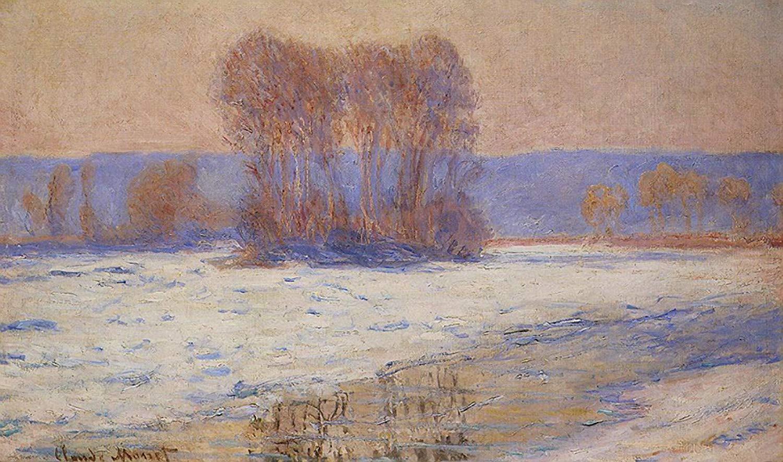 речной пейзаж < Сена, Беннекурт зимой >:: Клод Моне, описание картины - Моне Клод (Claude Monet) фото