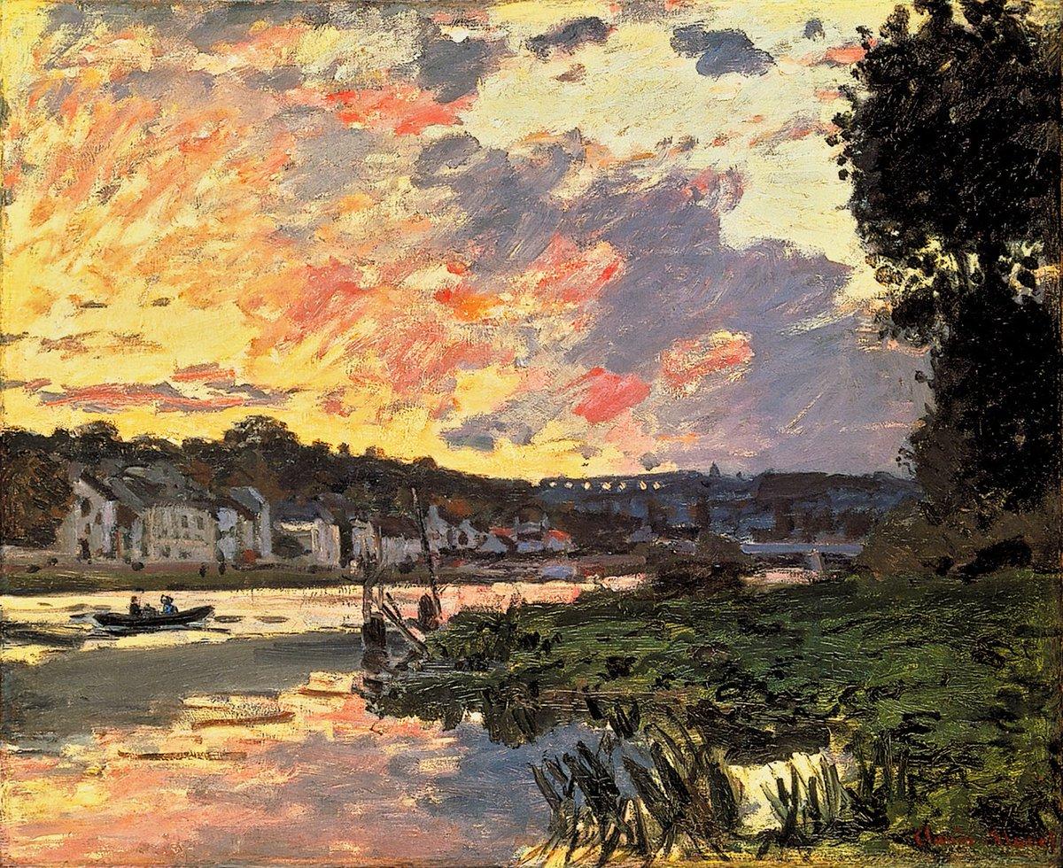речной пейзаж < Сена, вечерний Буживаль (Буживаль) >:: Клод Моне, описание картины - Claude Monet фото