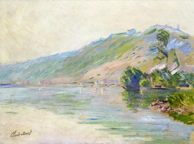 речной пейзаж < Сена, Порт Вилле в хорошую погоду >:: Клод Моне, описание картины - Моне Клод (Claude Monet) фото