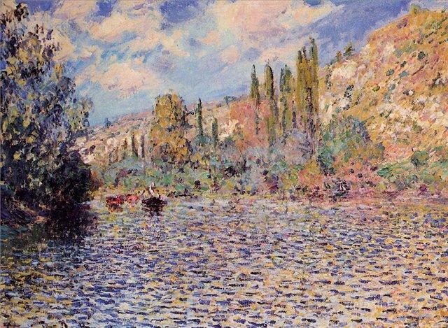 речной пейзаж < Сена, Витёй >:: Клод Моне, описание картины - Моне Клод (Claude Monet) фото