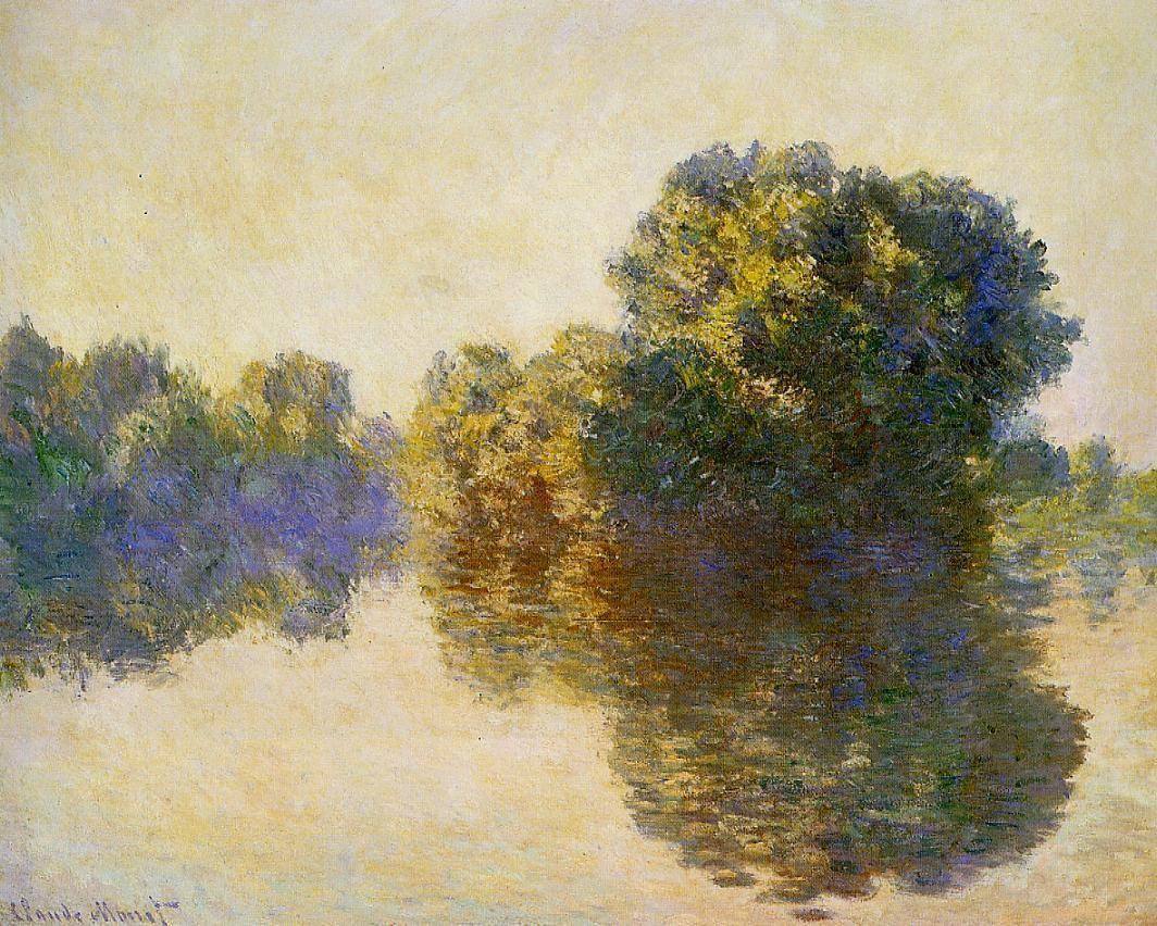 речной пейзаж < Сена рядом с Живерни >:: Клод Моне, описание картины - Claude Monet фото
