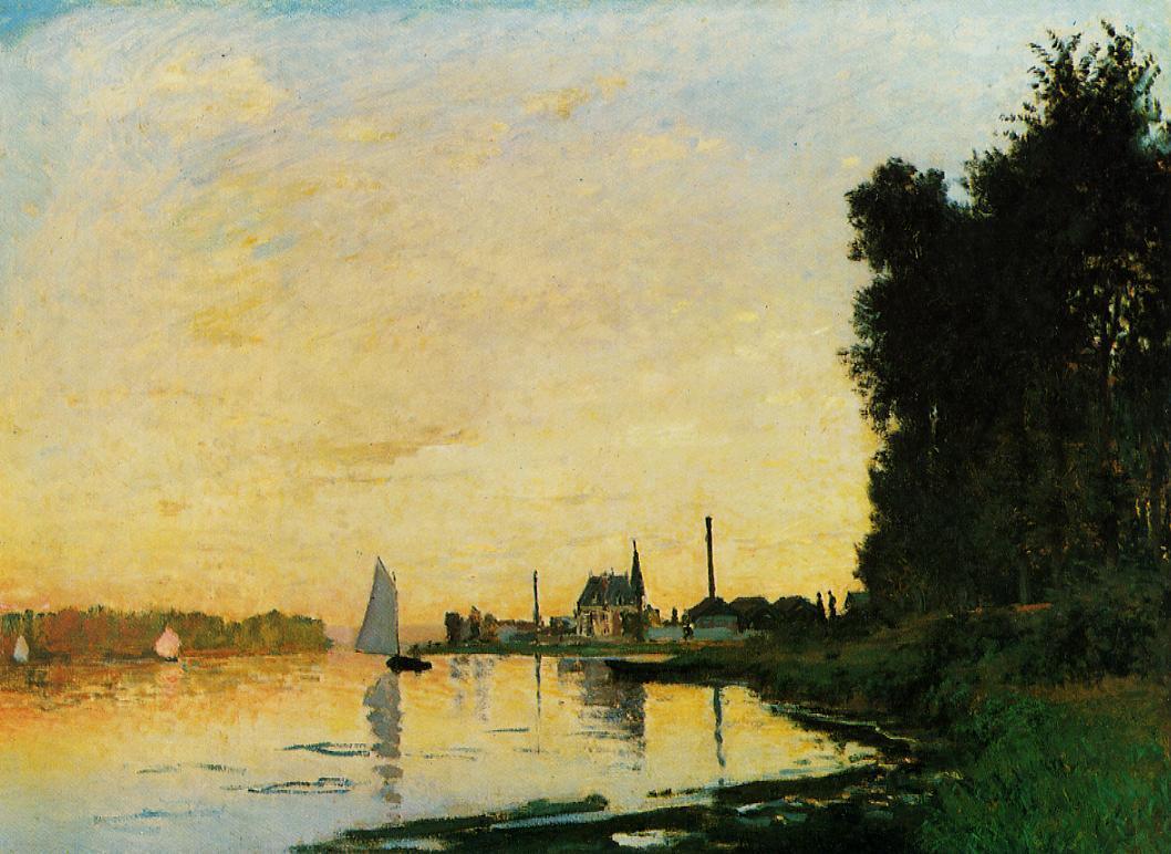"""пейзаж c парусниками """"Аржентёй, после полудня"""" :: Клод Моне, описание картины - Claude Monet фото"""