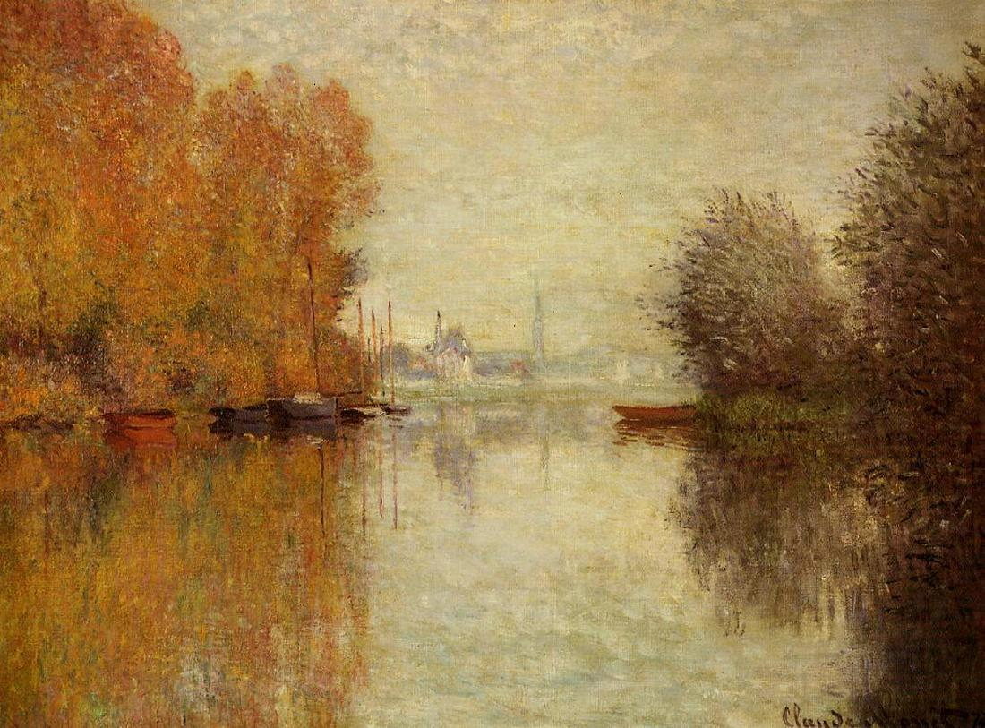 пейзажи - парусники и лодки < Осенний Аржентёй и Сена >:: Клод Моне, описание картины - Claude Monet фото