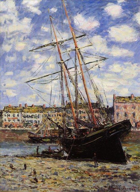 пейзажи - парусники и лодки < Лодка на мели в порту Фекам >:: Клод Моне, описание картины - Моне Клод (Claude Monet) фото