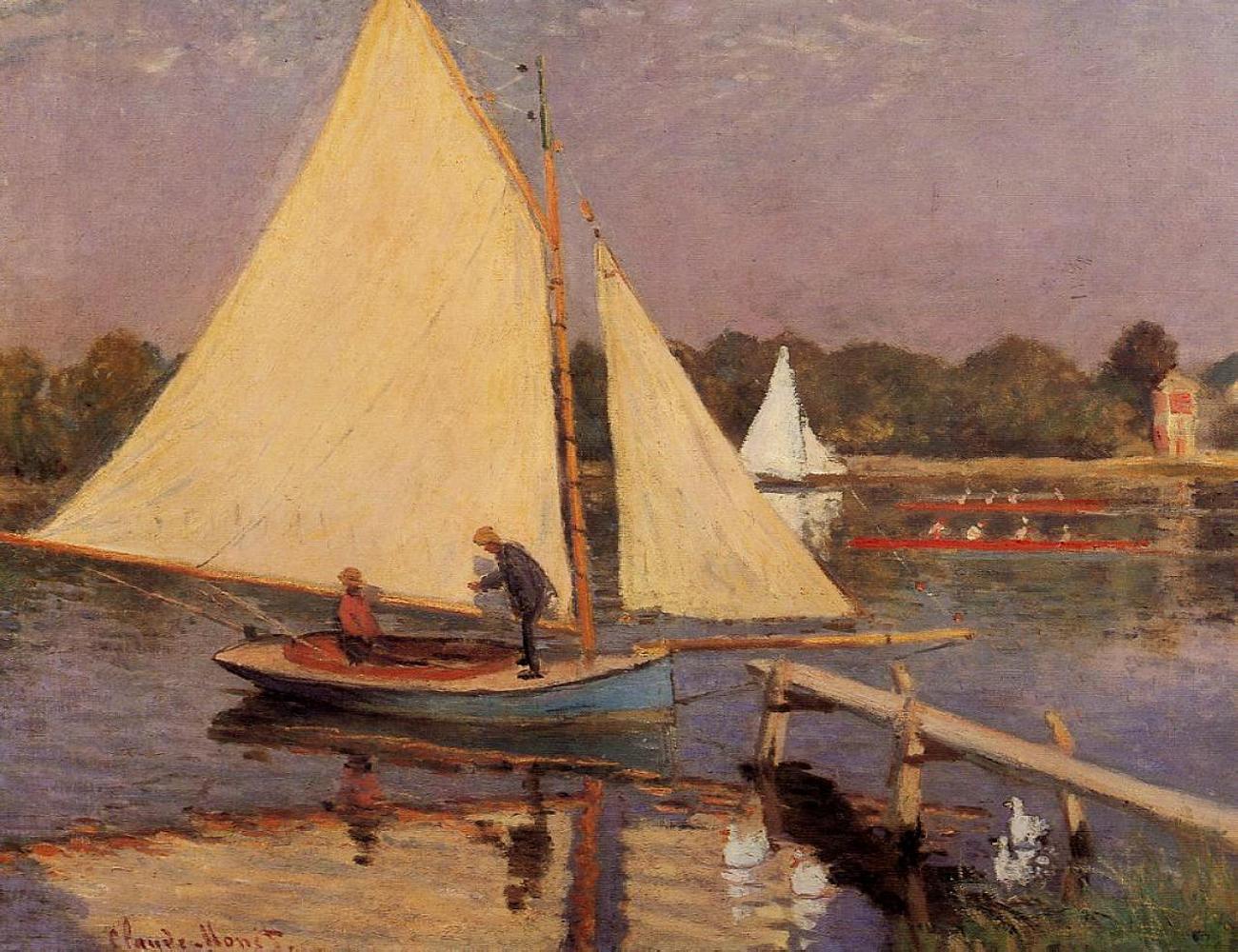 пейзажи - парусники и лодки < Лодки близ Аржантёя >:: Клод Моне, описание картины - Моне Клод (Claude Monet) фото