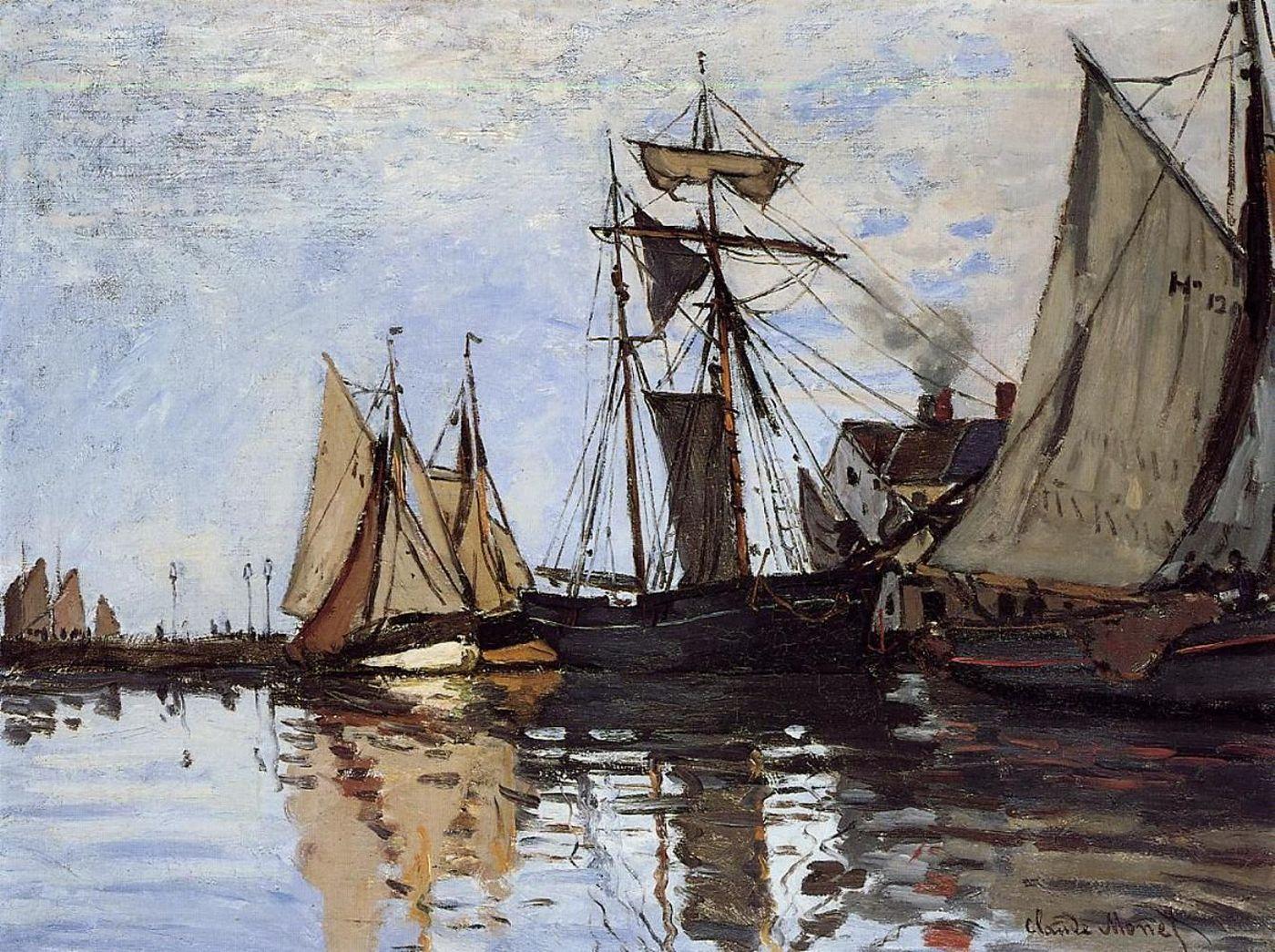 пейзажи - парусники и лодки < Лодки в Порту Онфлёр >:: Клод Моне, описание картины - Моне Клод (Claude Monet) фото