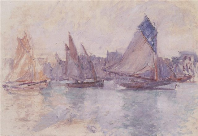 пейзажи - парусники и лодки < Лодки в порту Гавр >:: Клод Моне, описание картины - Моне Клод (Claude Monet) фото
