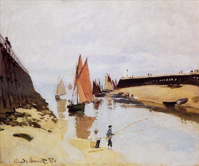 """пейзаж с рыбаками """"Вход в порт Трувиль"""" :: Клод Моне, описание картины - Claude Monet фото"""