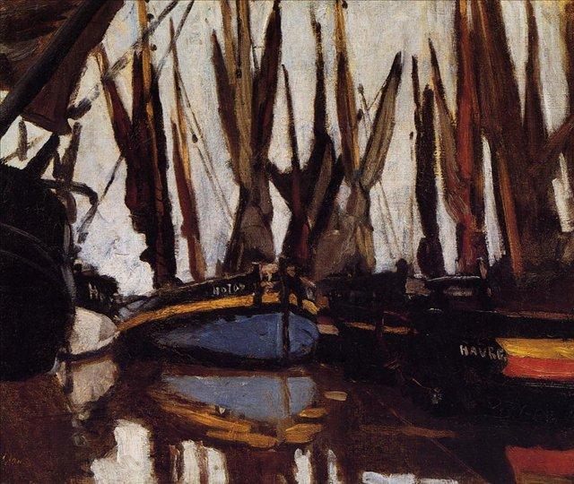 """пейзаж """"Рыбацкие лодки (штудия)"""" :: Клод Моне, описание картины - Claude Monet фото"""