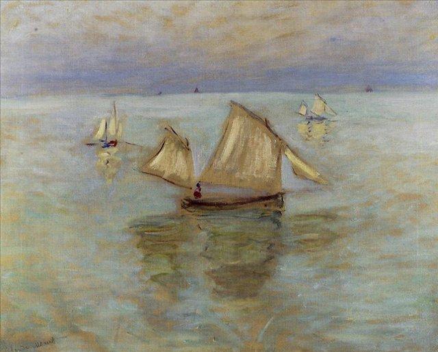 """пейзаж """"Рыбацкие лодки, Пурвилль"""" :: Клод Моне, описание картины - Claude Monet фото"""