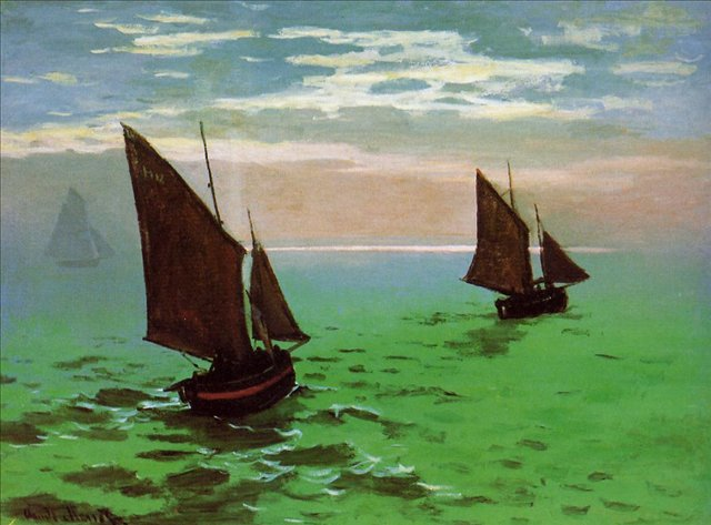 пейзажи - парусники и лодки < Рыбацкие лодки в море >:: Клод Моне, описание картины - Claude Monet фото